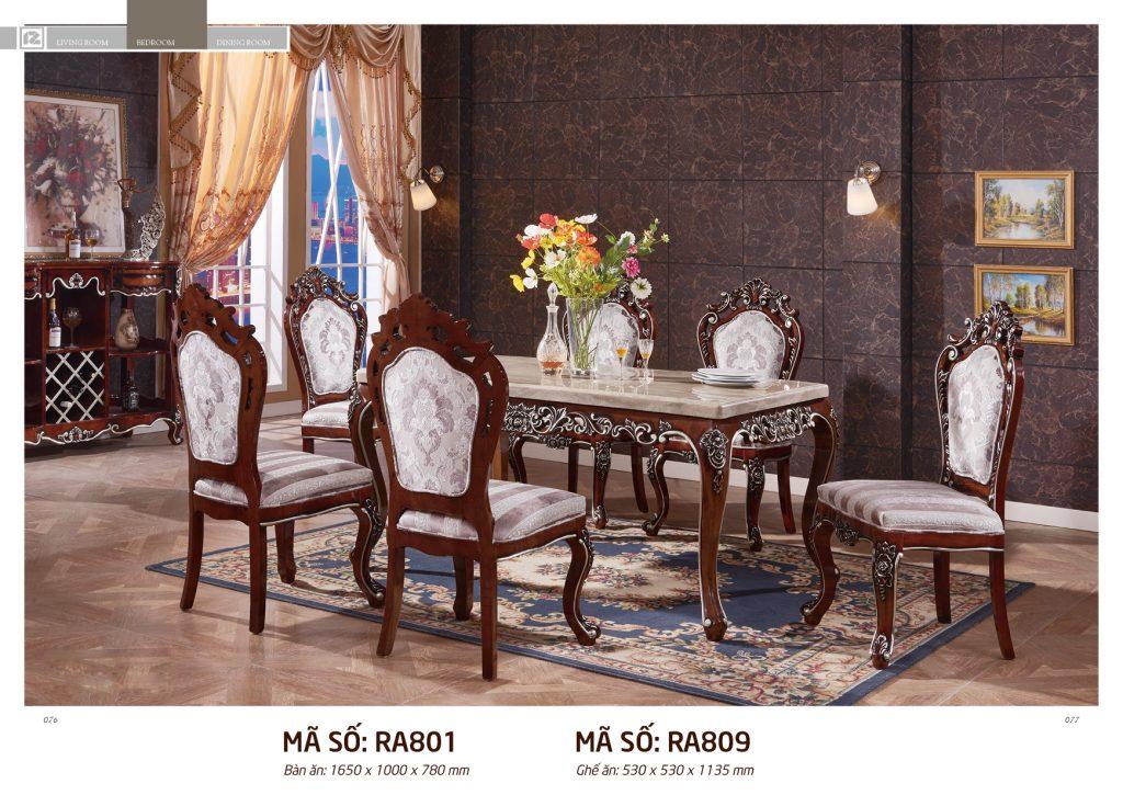 Bộ bàn ăn gỗ sồi cao cấp RA801PA