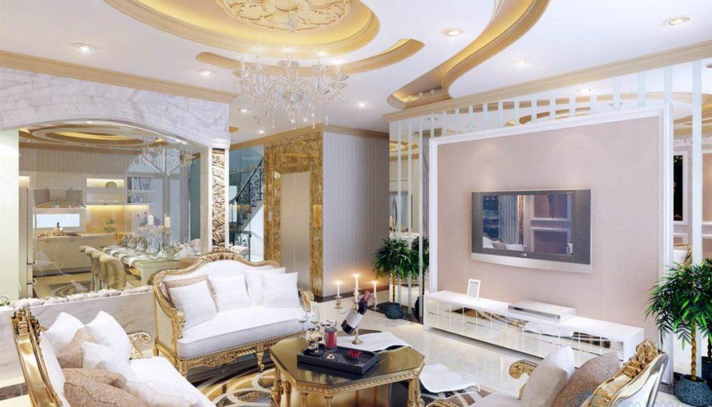 Nội thất phòng khách sang trọng cổ điển cho căn hộ trung cư