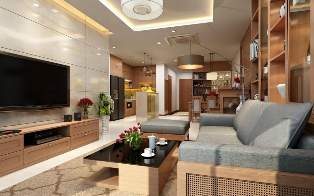 Nội thất phòng khách sang trọng hiện đại cho căn hộ trung cư