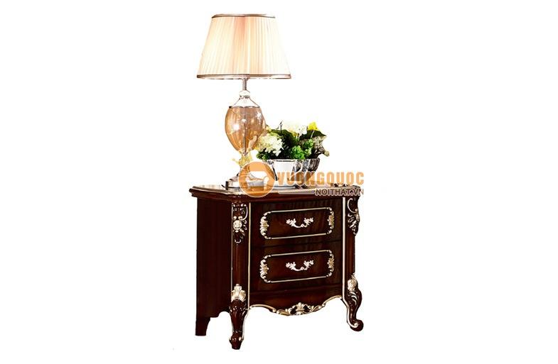 Tủ đầu giường gỗ xoan đào cổ điển Pháp