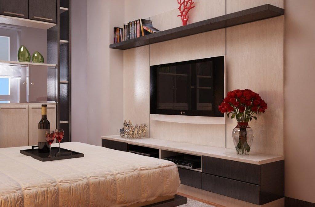 Lưu ý khi đặt kệ tivi hiện đại gỗ tự nhiên trong phòng ngủ