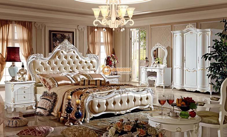 Giường ngủ kiểu dáng tân cổ điển sang trọng GD711G
