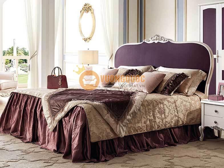 Bộ giường ngủ gỗ gam màu tím lãng mạn TSL G905