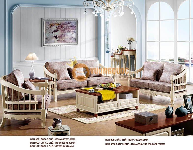 Bộ sofa gỗ hiện đại nhập khẩu Hàn Quốc DZH 9621